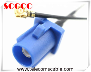 U.FL To Fakra C Rf Coaxial Cable / Straight Blue Jack Auto Coaxial Cable Assembly