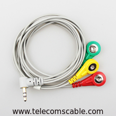 Audio Plug To 3 Snap Electrode Lead Wire , Conductive ECG Electrode Cable