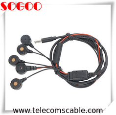 PVC Insulation Electrode Lead Cable DC Plug To PTL Snap Button For Medical Application