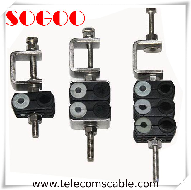 "3 Double Holes Feeder Coaxial Clamp For 7/8"" Cable M8 Threaded Hole supplier"