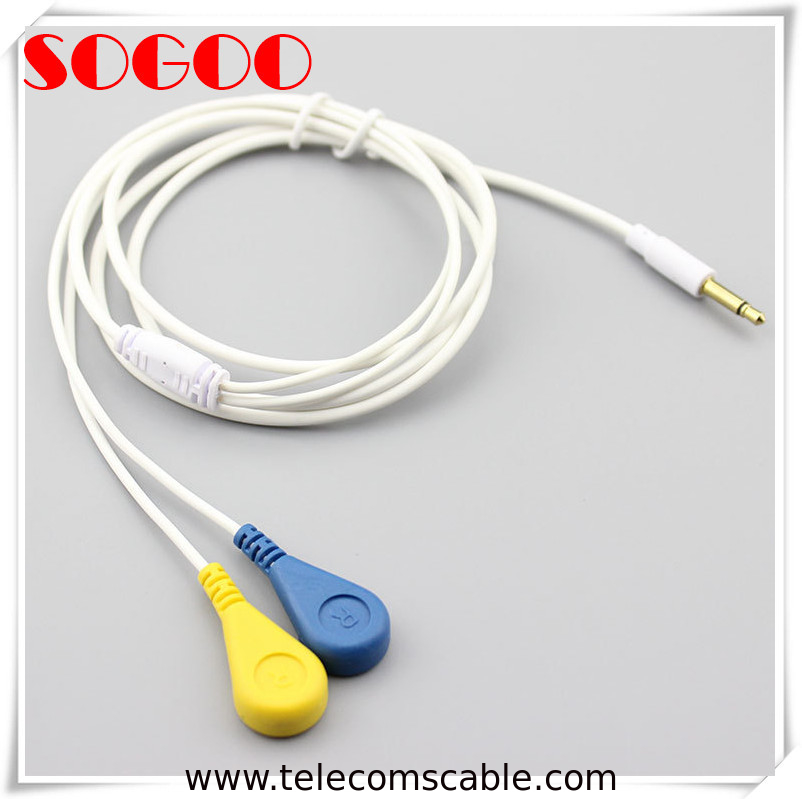 Flexible Ecg Electrode Lead Cable Custom 3.5mm Female Snap Button OEM / ODM supplier
